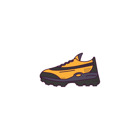 Fictional modern sneakers model side view. Linear style vector illustration. Shoes banner. Sneaker sport style illustration. Lines and dots. Yellow and black colors.