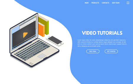 Online video computer web app. Isometric laptop with online video playing on screen and phone. Online education and studying. Computer training and and e-learning concept.