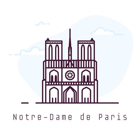 Notre-Dame de Paris city line style illustration. Old and famous Notre-Dame de Paris in Paris. France architecture city symbol. Outline building vector illustration. Travel banner. Vectores