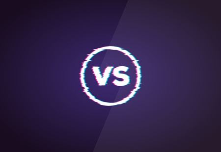 Versus glitch sign with VS letters. Battle or competition concept template in retro 3D colors. Red and blue glitch colors. Versus vector illustration template. Imagens - 123516524