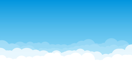 Sky with clouds wide background. Blue sky with white clouds on background. Cartoon, flat style background of sky and clouds. Spring and summer light blue cloudscape. Imagens - 123187907