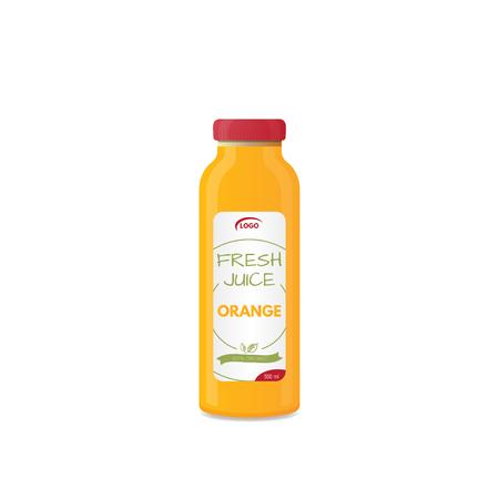Realistic bottle of juice mockup. Product template. Label and glass bottle. Illustration of glass of natural fresh orange juice and orange fruit. Healthy lifestyle. Ilustração