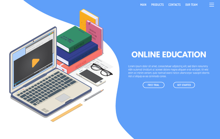 Online education on computer web app. Isometric laptop with online video playing on screen and phone. Books and glasses. Online education and studying. Computer training and and e-learning concept. Ilustração