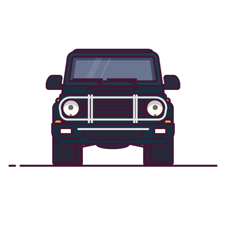 Front view of luxury SUV. Line style vector illustration. Off road vehicle banner. Offroad modern car from front. Classic angular off-road car design. Big truck pixel perfect banner.