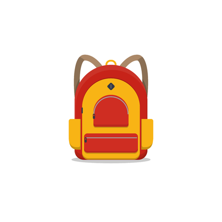 Red and yellow colored school backpack. Backpack with pockets and zipper. Education and study back to school back pack. Schoolbag or knapsack. Ilustração