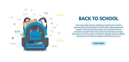 Back to scool banner. Blue colored school backpack with school accessoires. Backpack with pockets and zipper. Education and study back to school back pack. Pens and pencils, books and copybooks. Stock Illustratie