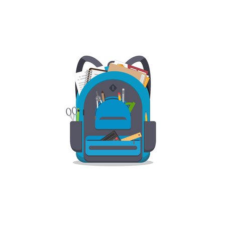 Blue colored school backpack with school accessoires. Backpack with pockets and zipper. Education and study back to school back pack. Pens and pencils, books and copybooks. Schoolbag or knapsack. Illustration