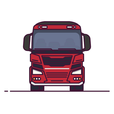 Front view of freight truck. Line style vector illustration. Transportation truck vehicle banner. Trailer modern car from front. New futuristic car design. Big truck pixel perfect banner.