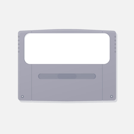 Template of japanese design game cartridge of fourth generation game consoles. Plastic case of classic game cartridge.
