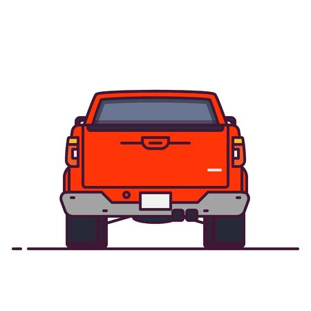 Vorderansicht des großen Pickups. Linienstil-Vektor-Illustration. Off-Road- und Lieferfahrzeugbanner abholen. Modernes Offroad-Auto aus seltener Sicht. Modernes Offroad-Autodesign. Großes LKW-Pixel-perfektes Banner.