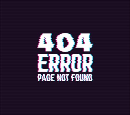 404 page not found glitch sign with distorted letters. Website error in retro 3D colors. Red and blue glitch colors. Glitch effect text on dark background with old tv line effect.