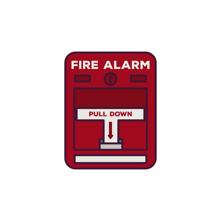 Fire alarm box. Fire alarm text, pull down switch. Line style vector illustration. Classic fire switch. Rescue and alarm pixel perfect banner.