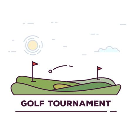 Line style golf club poster. Blue sky and green golf field. Golfclub competition poster. Championship tournament text placeholder. Template for golf competition or championship. Linear style vector.