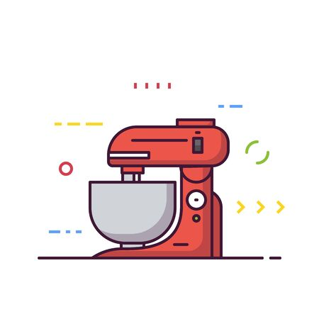Kitchen food processor machine vector. Kitchen mixer machine for cooking. Red modern electric kitchen appliance. Restaurant kitchen equipment. Line style vector illustrations with thick lines