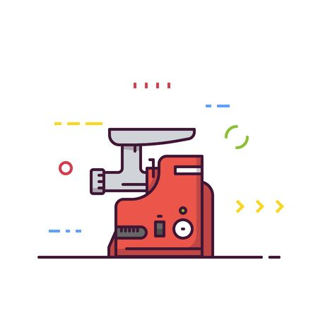 Meat grinder machine vector. Kitchen mixer machine for minced meat. Red modern electric kitchen appliance. Restaurant kitchen equipment.  Line style vector illustrations with thick lines. Illusztráció