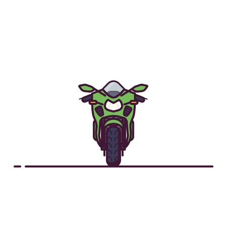 Front view of modern super sport motobike. Line style vector illustration. Moto bike flat style banner. Road fast motorbike front view. Set of vehicles. Pixel perfect banner Çizim