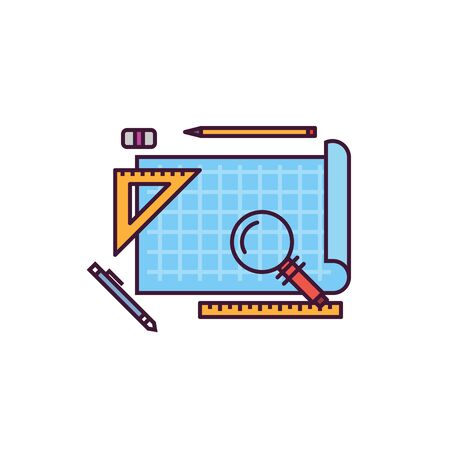 Blueprint and architect workspace vector icon. Blue paper with ruler and pen. Line style, pixel perfect vector illustration. Architect or app development blueprints 일러스트