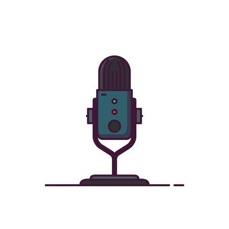 Modern professional podcast microphone line style illustration. Interview or radio show icon.
