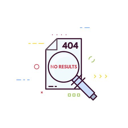 Page not found 404 design template. 404 error page flat line concept. Link to a non-existent page. Document no results. Page with magnifying glass and 404 error