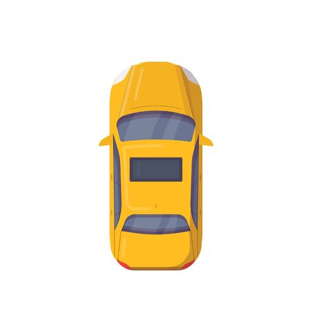 Vista superior del coche moderno. Ilustración de vector de estilo plano. Banner de vehículos modernos. Coche de motor nuevo desde arriba. Sedan auto con techo corredizo en color amarillo. Coche de taxi. Ilustración de vector