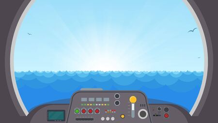 Inside submarine view. Submarine interior with control panel with buttons and lights. View on ocean water trough main submarine window. Spaceship or submarine vector illustration