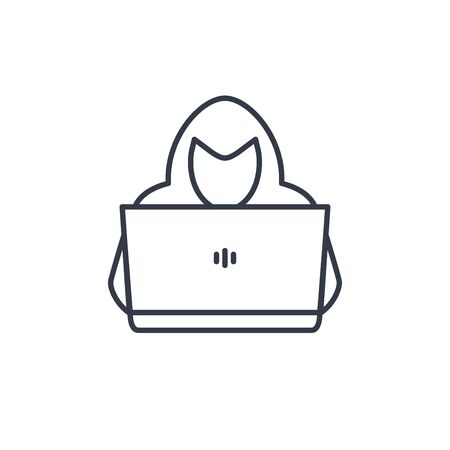 Line style vector illustration. Man with laptop in hoodie. line icon or emblem of hacker person with laptop stealing personal information from internet.