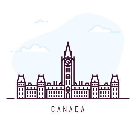 Canada city line style illustration. Famous Centre Block in Ottawa, Ontario. Architecture city symbol of Canada. Outline building. Sky clouds on background. Travel and tourism banner.  Çizim