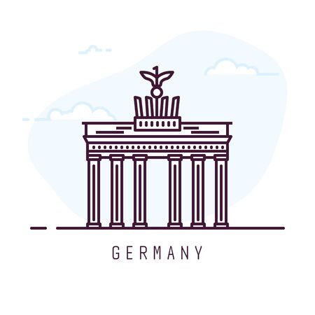Germany city line style illustration. Famous Brandenburg gate. Architecture city symbol of Germany. Outline building. Sky clouds on background. Travel and tourism banner.
