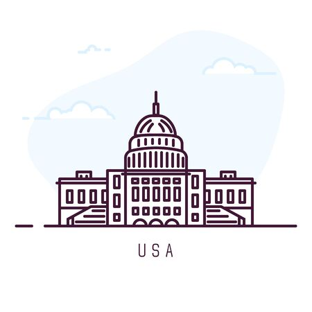 United States of America city line style illustration. Famous Capitol Building. Architecture city symbol of States. Outline building. Sky clouds on background. Travel and tourism banner.  Çizim
