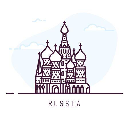 Russia city line style illustration. Famous Saint Basils Cathedral in Red Square in Moscow. Architecture symbol of of Russia. Outline building. Sky clouds on background. Travel and tourism banner