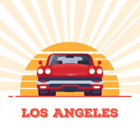 Front view of red muscle sport car from 60s. Sun and rays. Los Angeles vintage flat style banner. Vehicle and transport banner. Retro style old car from 60s.