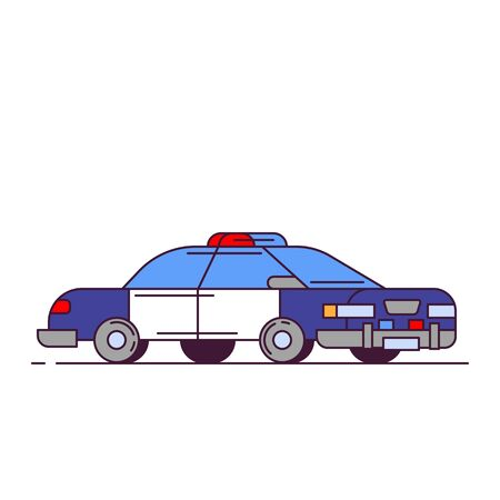 Side view of red police car with lights. Line style vector illustration. Vehicle and transport banner. Modern patrol american car. Blue cops car with white doors.  Illustration