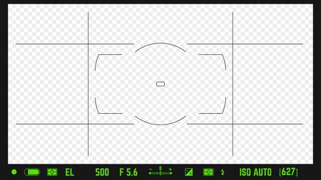 Photo camera realistic viewfinder overlay with image settings