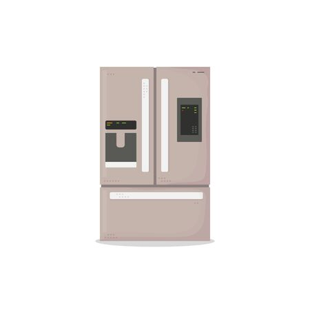 Kitchen modern refrigerator with three chambers. Modern technology fridge with display and ice. Big doors and lines. Flat style vector image. House kitchenware vector.