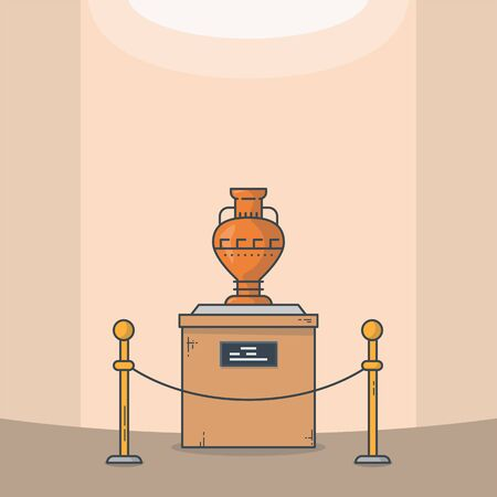 Old vase on pedestal in the museum. Wooden base with text and old famous classic masterpiece clay jar. Museum vector line style vector. Modern museum online exhibition.
