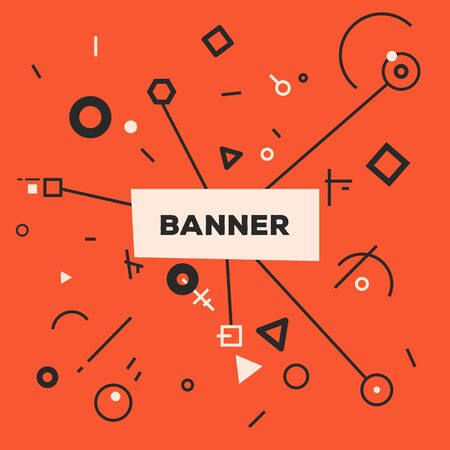 Linear abstract banner. Red and black colors with white. Geometric shapes background. Place for text and image. Banner template. Text in center and lines and geometric shapes around.