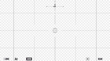 Realistisches Sucher-Overlay der Fotokamera mit Videoeinstellungen und Autofokuspunkten. 16:9 Full-HD-Format der Rahmenvorlage. DSLR professionelle Kamera-Rahmen-Vektor-Vorlage auf transparentem Hintergrund. Vektorgrafik