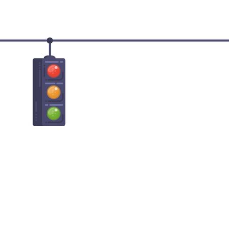 Traffic light banner with white background. Traffic light on wire. Safety stoplight on road. Modern style vector with lines.