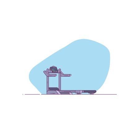 Professional treadmill vector illustration. Gym fitness athletic treadmill. Fit and healthy lifestyle. Athletic equipment for workout and running.