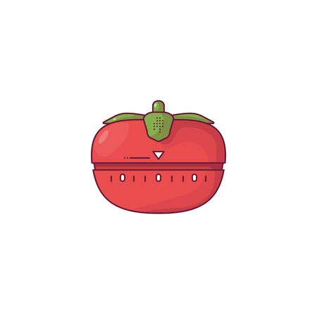Red tomato kitchen timer. Tomato timer with green leaves. Red modern timer for time management and workflow. Outline vector image. Line style vector illustration.