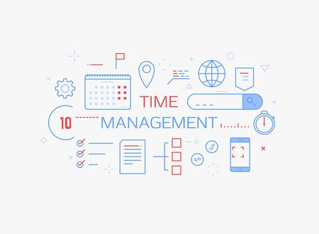 Time management concept banner. Blue and red colors. Time planning and day management. Day schedule and office items, calendar, docs. Modern vector line illustration.  Иллюстрация