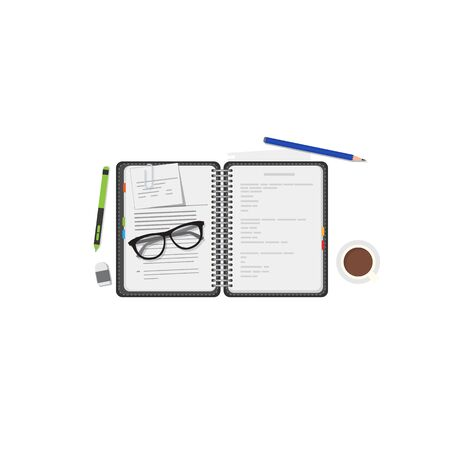 Work diary with text and pens. Color strikers, cup of coffee and glasses. Notepad with plans and organization. Education or business diary. Pages with lines of text, pencil.