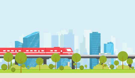 Subway and city on background. Park with trees and bushes. City train outdoor. Flat style vector. On background business city center with skyscrapers. Green park vegetation in center of big town.
