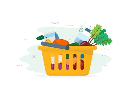 Shopping cart with vegetables and fruits. Water bottle, milk bag and fresh food from local food market. Basket with food and drink. Supermarket basket cart flat style vector illustration.