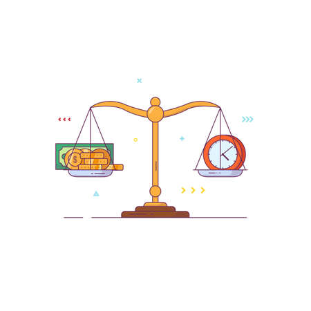 Scales banner. Balance and weight measurement concept. Money and time comparison. Golden coins and paper dollars. Comparison and libra sign. Line style flat vector illustration.