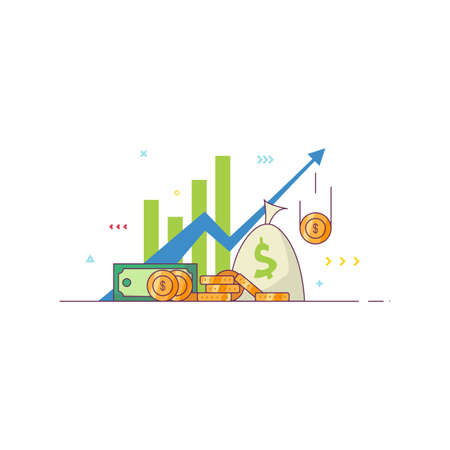 Financial market success vector illustration. Golden coins, green dollars and bag with money. Graph and arrow with financial bars. Income increasing banner. Line style vector image. Иллюстрация