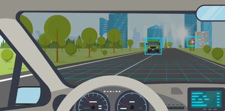 Car interior. Modern car interior with steering wheel and display. AI autopilot view on screen interface. Highway to hill, city on background. Autonomous car interface and road sign identification.