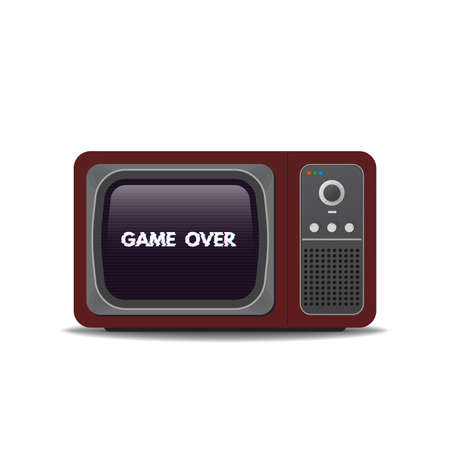 Old vintage TV-set. Game over glitch text on tv screen. Realistic retro tube TV with shadows. Template for game over and tv.