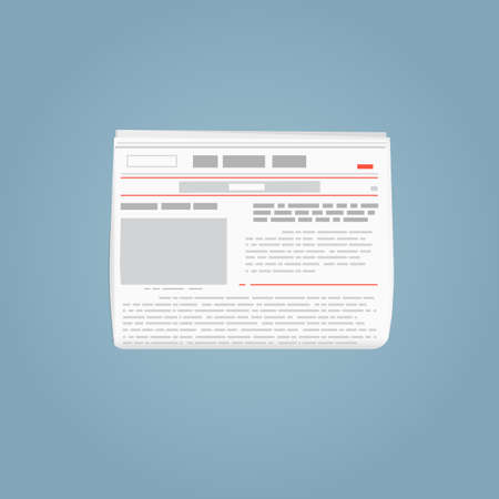 Newspaper template. Folded newspaper with blank picture abstract text. Red lines and grey text. Breaking world news newspaper. White paper and grey and red paint.
