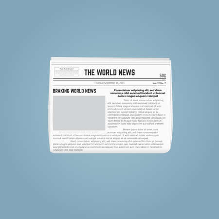 Newspaper template. Folded newspaper with blank picture for pasting and text. Date and headlines, with article text. Breaking world news newspaper. White paper and grey, black paint. Иллюстрация